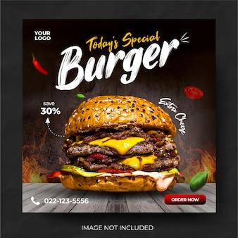 Menu alimentaire promotion de hamburgers bannière média post feed
