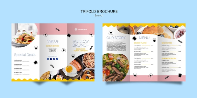 Menu brunch brochure à trois volets