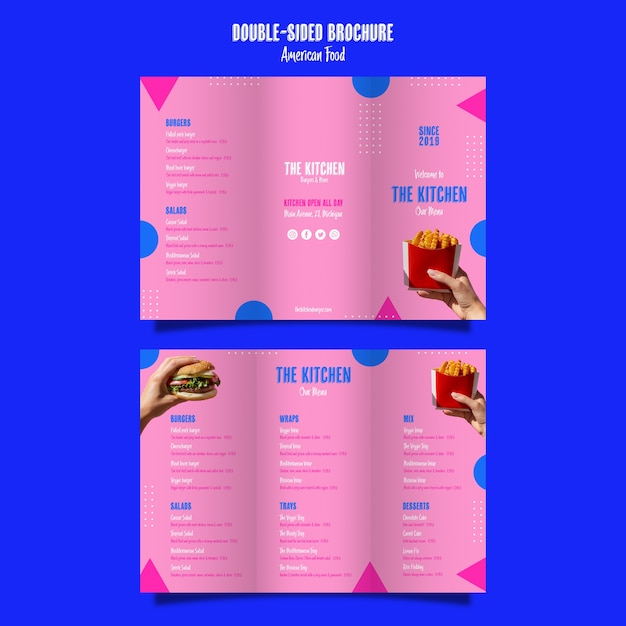 Menu de cuisine brochure double face