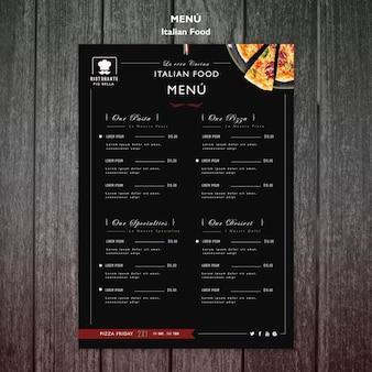 Menu de la cuisine italienne