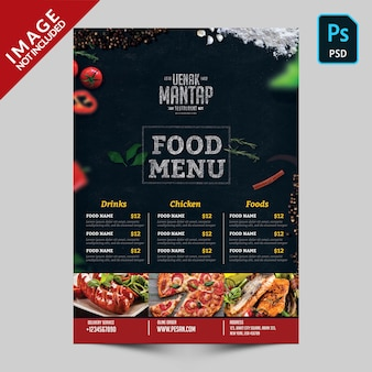 Menu dark food avec des images d'aliments face avant