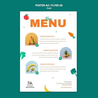 Menu du restaurant des aliments sains