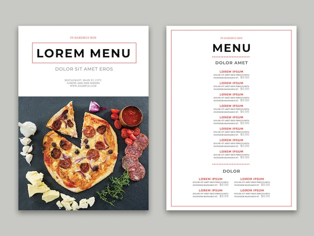 Le menu du restaurant