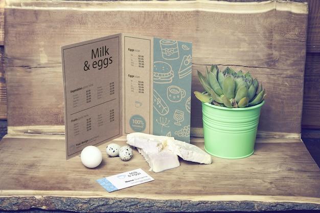 Menu de la ferme laitière et maquette de carte de visite
