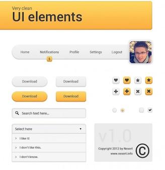 Menu de navigation d'orange avec avatar