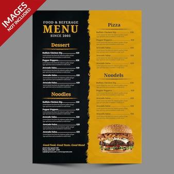 Menu de nourriture et de boissons vintage sombre, idéal pour la promotion du restaurant modèle psd premium