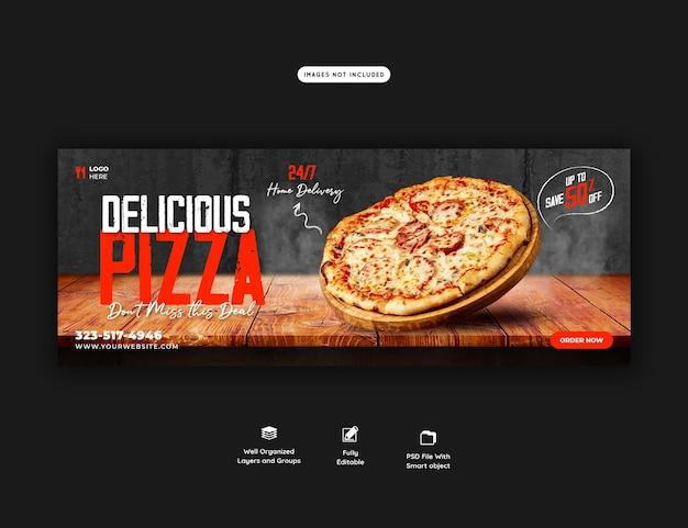 Menu de nourriture et modèle de bannière de couverture facebook de délicieuses pizzas