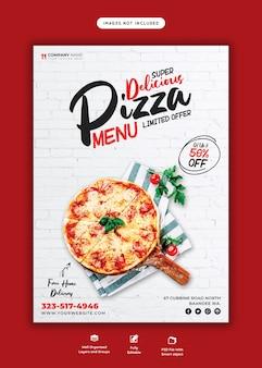 Menu de nourriture et modèle de flyer de pizza délicieuse