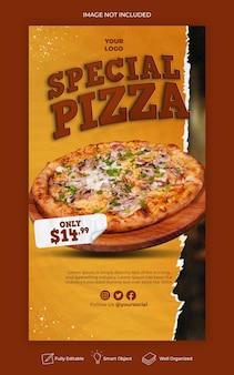 Menu de nourriture et modèle d'histoire instagram de délicieuses pizzas