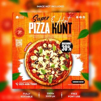 Menu de nourriture et modèle de publication instagram de délicieuses pizzas