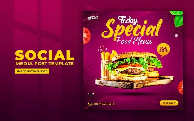 Menu de nourriture spéciale médias sociaux et modèle de publication instagram