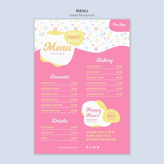 Menu pour la conception de la boutique de bonbons pop