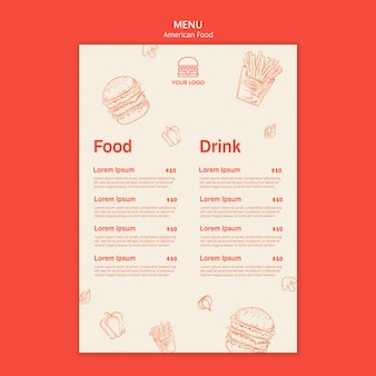Menu pour restaurant burger