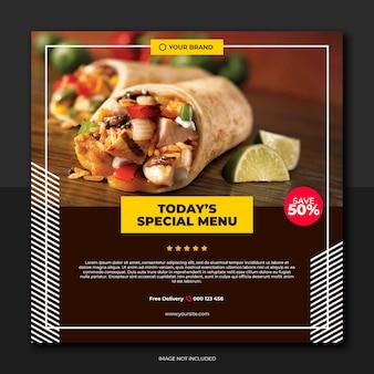 Menu spécial quotidien pour les médias sociaux du restaurant