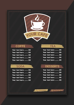 Menu vintage restaurant coffe