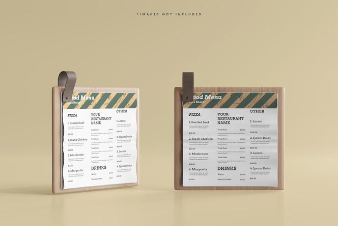 Menus alimentaires carrés sur une maquette de planche de bois