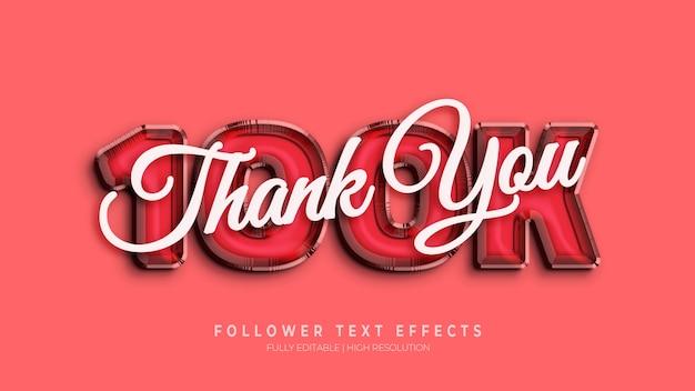 Merci 100k followers effet de style de texte 3d