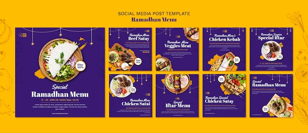 Message sur les médias sociaux du menu ramadahn