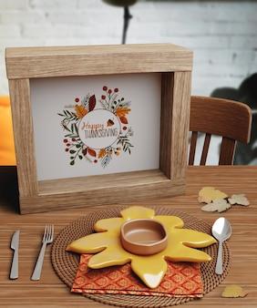 Message mignon de thanksgiving sur le cadre