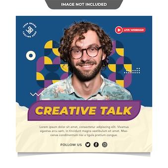 Message de modèle de médias sociaux creative business talk