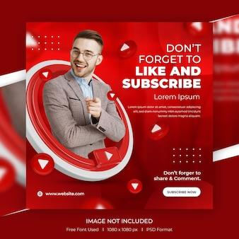 Message de promotion de la chaîne youtube des médias sociaux du concept créatif avec modèle 3d