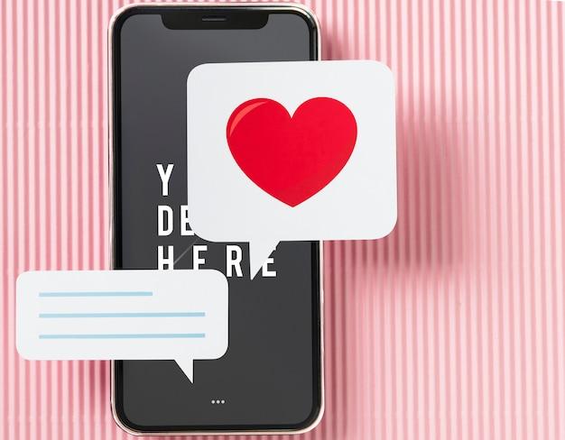 Messagerie instantanée sur maquette de téléphone portable