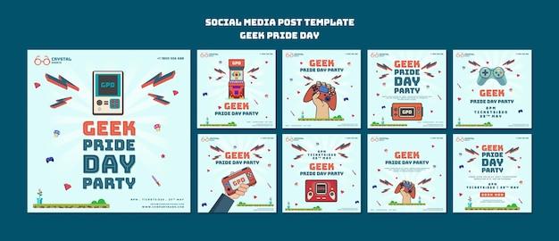 Messages sur les médias sociaux du jour de la fierté geek