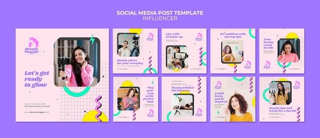 Messages sur les médias sociaux des influenceurs de style memphis