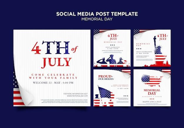 Messages sur les réseaux sociaux du memorial day avec drapeau