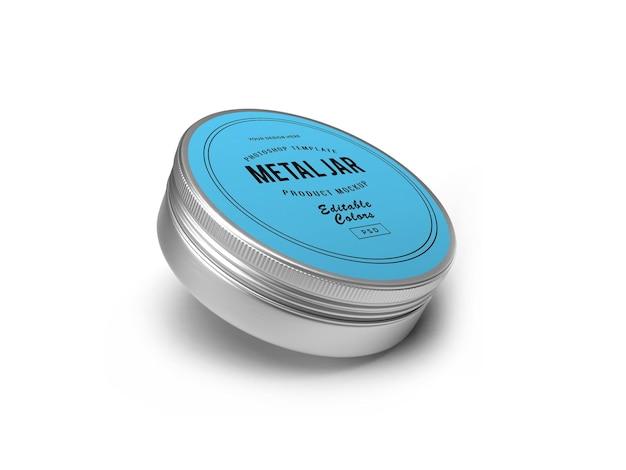Metal tin jar 3d mockup design rendu 3d