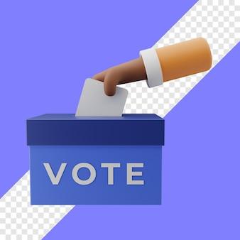Mettez le bulletin de vote dans l'illustration 3d de l'urne