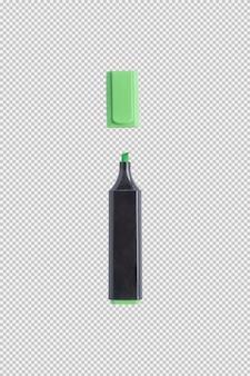Mettez en surbrillance le stylo de couleur isolé sur fond blanc