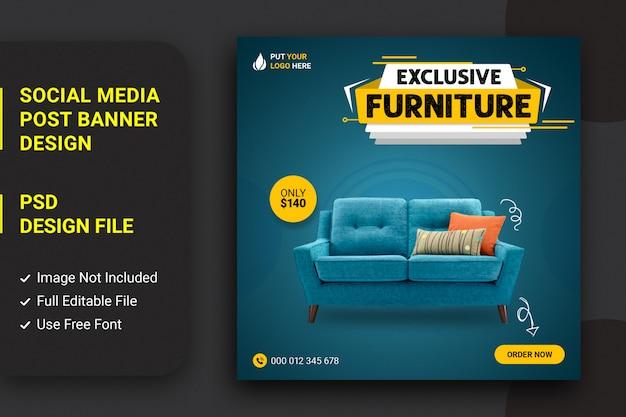 Meubles de canapé vendant la conception de publications sur les médias sociaux