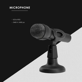 Microphone noir isolé avec support vue avant gauche