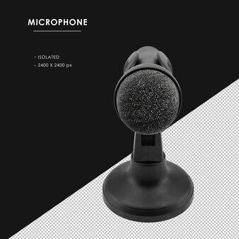 Microphone noir isolé avec vue de l'angle supérieur du support
