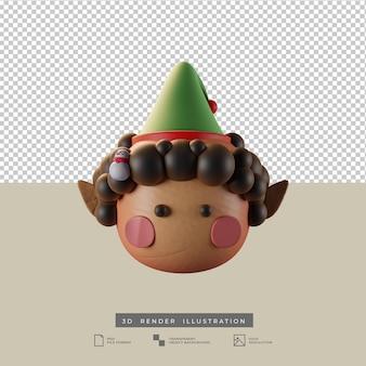 Mignon elfe de noël avec bonhomme de neige poupée style argile vue de face illustration 3d