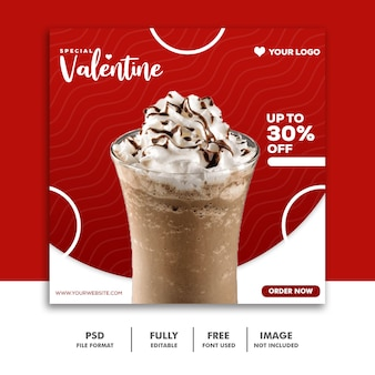 Milkshake chocolate red social media instagram post valentine