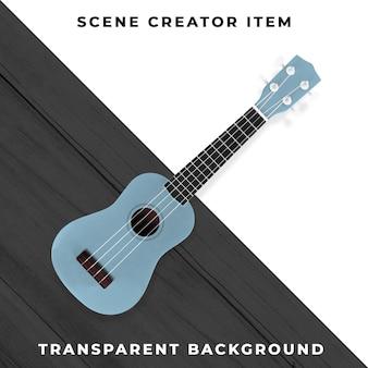 Mini guitare bleu transparent psd