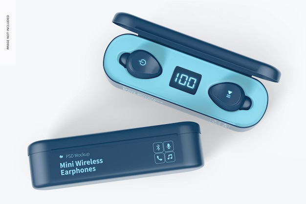 Mini maquette d'écouteurs sans fil, vue de dessus