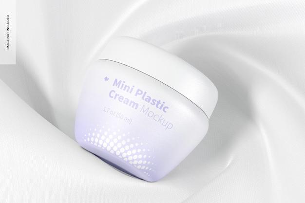 Mini pot de crème en plastique avec maquette de couvercle, vue de dessus