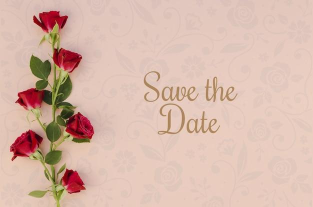 Minimaliste réservez la date avec des roses