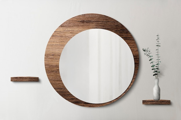 Miroir circulaire avec une maquette de toile de fond en bois