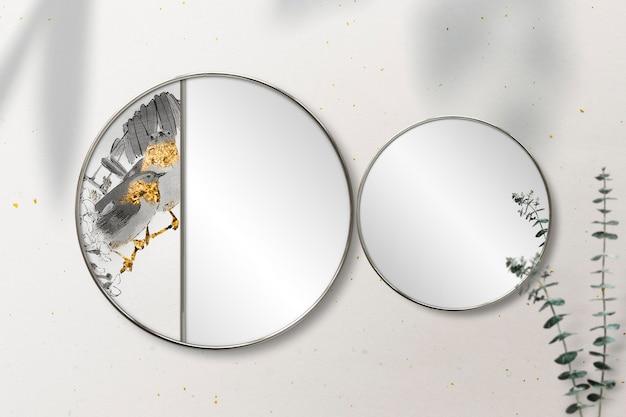 Miroir rond décoré d'une maquette d'œuvre d'art