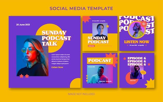 Mise en page de bannière de publication de médias sociaux rétro de podcast d'été