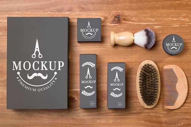 Mise à plat de la collection de produits de soins de la barbe
