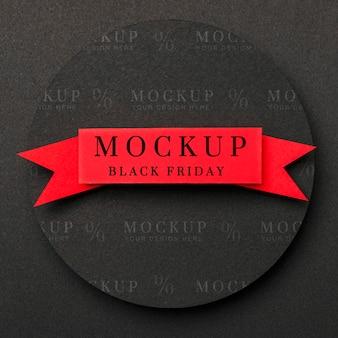 Mise à plat du ruban rouge du vendredi noir maquette