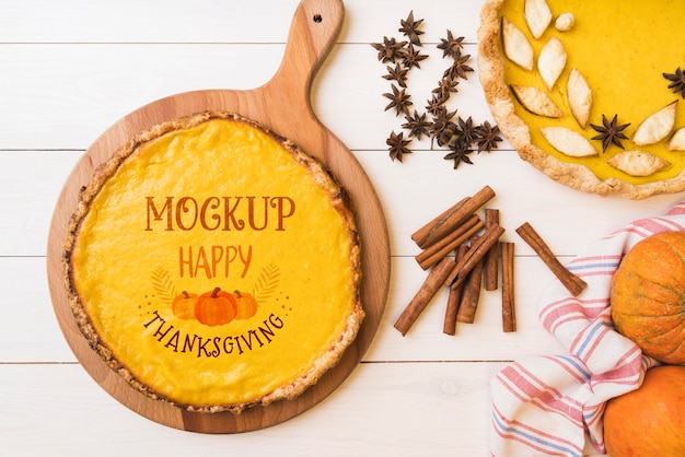 Mise à plat de la maquette de la conception de thanksgiving
