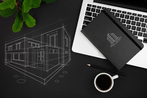 Mise à plat de la maquette du concept de bureau