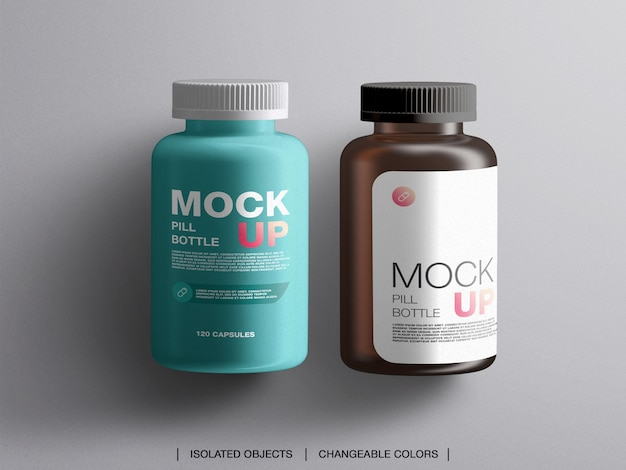 Mise à plat de la pilule de traitement de la médecine bouteilles bouteilles d'emballage en plastique maquette isolé