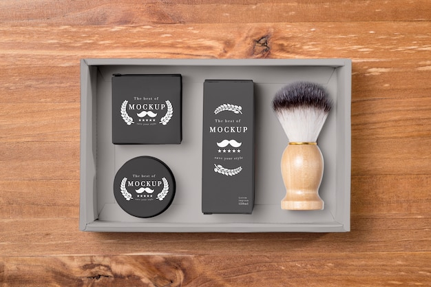 Mise à plat des produits de soins de la barbe avec brosse